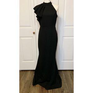 • Lulu's Halter Ruffle Mermaid Black Gown •